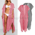 Plus Size Women Striped Cover Up Tops Evening Tidel Cardigans Long Coat Plus