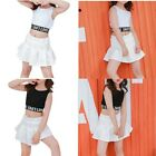 Kid Girls Stylish Outfits Cotton Top Pleated Skirt Street Dance Performance Wear