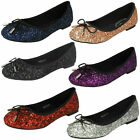 Ladies Anne Michelle Slip On Glitter Ballerina Dolly Party Shoes F8R0184