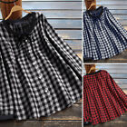 Women's Fashion Casual Plaid Tops Shirt Oversized Baggy Blouse T-Shirt Plus Size