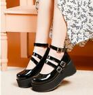 Women Ladies Buckle Flat Platform Womens Goth Creepers Punk Wedge Shoes Size