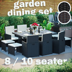 Rattan Garden Furniture Set 8 10 Seater Chairs Cube Dining Table Outdoor Patio