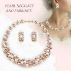 Gold&white Crystal Necklace Pendent Faux Pearl Drop Earrings Set Party Bridal Uk