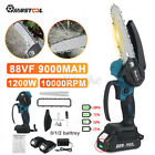 6in 1200W Electric Chain Saw Handheld Logging Saw With 88VF 9000mAh Battery