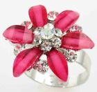 CZ FLOWERS IN BLOOM ADJUSTABLE STAINLESS STEEL RING