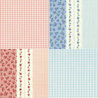 COTTON BEDDING CLOTH COVERING FABRIC FLORAL COMBINATE STRIPE CHECK PINK BLUE 44'