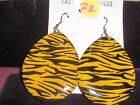 NEW PIERCED DANGLE EARRING YELLOW/BLACK PRINT
