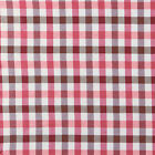 "QUALITY COTTON CHAMBRAY YARN DYED CLOTH FABRIC MELANGE PINK PLAID BEIGE 44""W BTY"