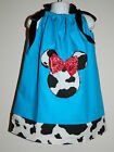 GIRLS MINNIE MOUSE TURQUOISE COW PILLOW CASE DRESS