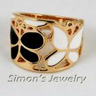Shinning Enamel Black & White Butterfly 18K GP Ring JA170 All Size