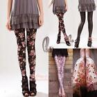 Flowery Lace&Leather Look Leggings Tights Pants p036