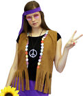 1960's/1970s FLOWER POWER HIPPY Flower WAISTCOAT Fancy Dress accessory ALL SIZES
