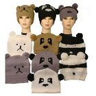 Ladies/Childs Knitted Animal Face Beanie Hat With Pom Pom Ears Bear/Panda/Racoon