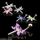DRAGONFLY gem steel Navel Belly 6 Colours choices ear