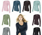 Bella Ladies Long Sleeve Sheer Rib Long V-neck T-Shirt 8750 Womens Size S-2XL