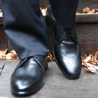 Belivus  Metro Oxford Cow Genuine Leather Handmade Men's Wing Tip Shoes BES017
