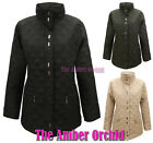 NEW WOMENS LADIES QUILTED PADDED LONG ZIP BUTTON WINTER JACKET COAT SIZE 12-20