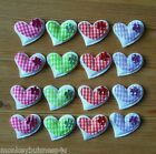 Padded Gingham Heart  w/Flower - Applique - Topper - Wedding - Favour - Cards