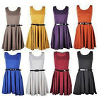 WOMENS SLEEVLESS TAILORED  BELTED SKATER DRESS LADIES PARTY MINI DRESS 8-14