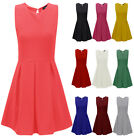Ladies Tailored Skater Dress Womens Ribbed Flare Franki Party Dress Size 8-14