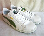 MENS PUMA WHITE & GREEN LEATHER BASKET ZHU LACE UP TRAINERS COLOURED SPARE LACES