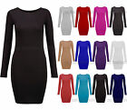 New Womens Long Sleeve Bodycon Dress Ladies Jersey T Shirt Top Plus Size UK 8-18