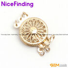 3 Strands Filigree Yellow Gold Plated Box Clasp