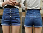 P02 High Waist Denim Blue Shorts Hot Pants Trousers UK 6 8 10
