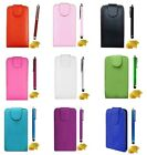 LEATHER FLIP SKIN CASE COVER FOR MOBILE PHONES STYLUS TOUCH PEN SCREEN PROTECTOR