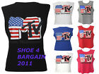 WOMENS USA FLAG MTV PRINT LADIES SLEEVELESS STRETCH VEST TOP SIZE 8-12