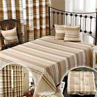 Homescapes Beige Large Cotton Stripe Sofa Bed Throw Blanket Cushion Curtains