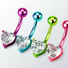 Neon Titanium Anodized Heart Prong Set Belly Ring