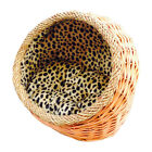 Small Dog Basket Cat House Hooded Wicker Basket for Dogs &Cats Bed,Inner Cushion