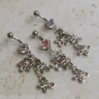 Nature Charm Flower & Butterfly Gem Belly Ring Navel Clear, Pink, Aqua, Rainbow