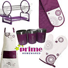 Lilla Purple Oven Glove single Double Glove, Apron, Dish Drainer, Jars, Full Set