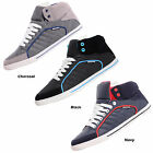 Mens Designer Crosshatch Hi Tops Canvas Casual Shoes,Trainers, Pumps,Size 7 To11