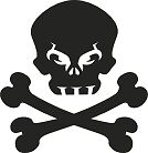 Goth Skull and Crossbones Vinyl Sticker Decal Car Laptop Wall Bike Art