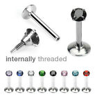 316L Surgical Steel Internally Threaded Labret with Prong Set Gem Top
