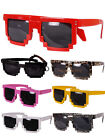 7Color Unisex Retro Trendy Square Sunglasses Pixel 8 Bit Glasses Pixelated Style