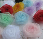 Upick Organza Flowers Rose Appliques Crafts Wedding Sewing Decorations RR007