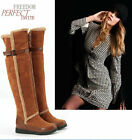 Ladies Womens Fur Trim Buckle Strap Wool Lined Flat Over Knee Winter Boots #333