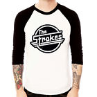 The Strokes Logo-black rock band Baseball Jersey t-shirt 3/4 sleeve Raglan Tee