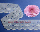 "12/24 Yards White Vintage 1-1/4"" Woven Lace Trim 02AV Buy More-Ship No Charge"