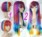 High-Quality Heat Resistant Multi-Color Mixed Short Long Straight Cosplay Wig