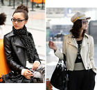 Autumn Women Rivets Lapel Slim Leather Jacket