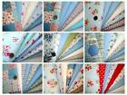 6, 7, 8 FQ Bundle Retro Shabby Chic Floral Dot BLUE Pink Green Red Cotton Fabric