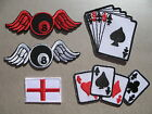 Mini Iron-On Patch 8 Ball Angel Wings St. George's Cross Playing Cards Poker Ace