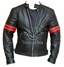 Cafe Racer Style Retro Biker Cowhide Armoured Leather Jacket with Red Stripes
