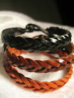Mens Faux Leather Plait Surfer Wristband Plaited Surf Bracelet - *Choose Colour*