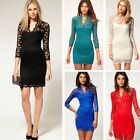 2014 New Vintage Style Scalloped Neck Slim Sexy Cocktail Retro Lace Dress-DL